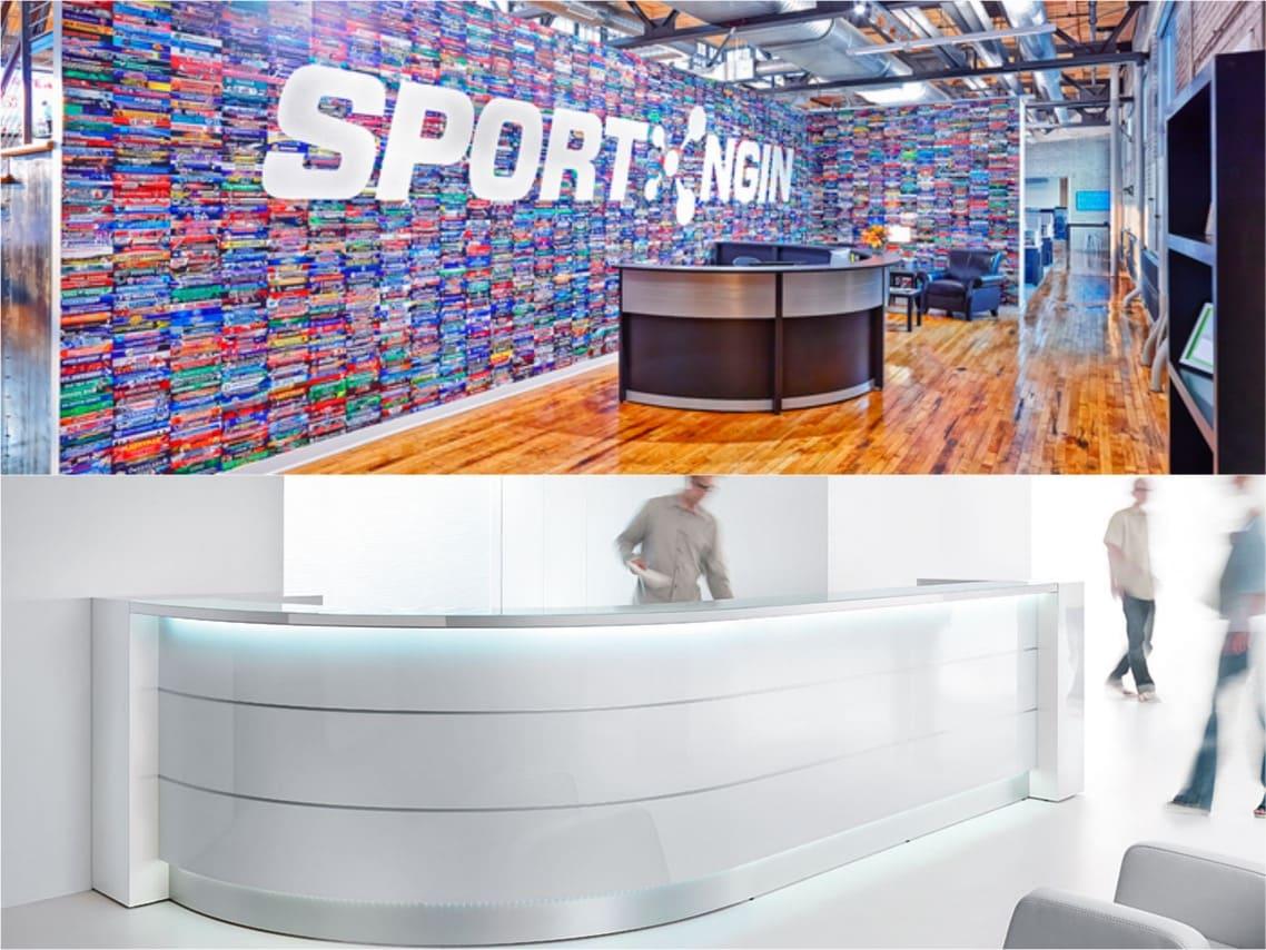 1Hillcrest Sport Valde curved reception desk spaceist