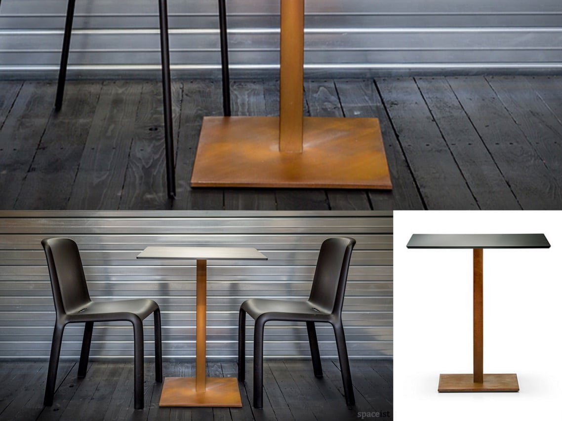 1a inox weathered cor ten steel table spaceist blog post four tables cafe