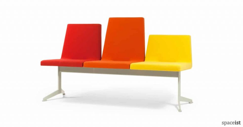 213 lobby style bench seating in orange and yellow