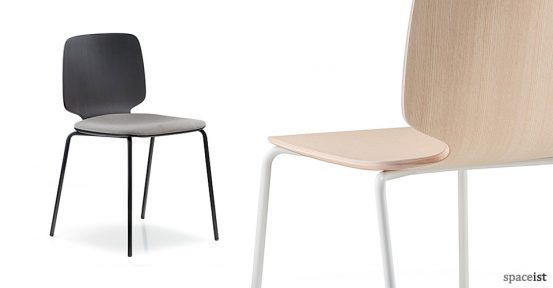 Babila chair with a wood seat and seat pad