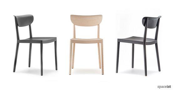 Tivoli black and natural ash wood cafe chair