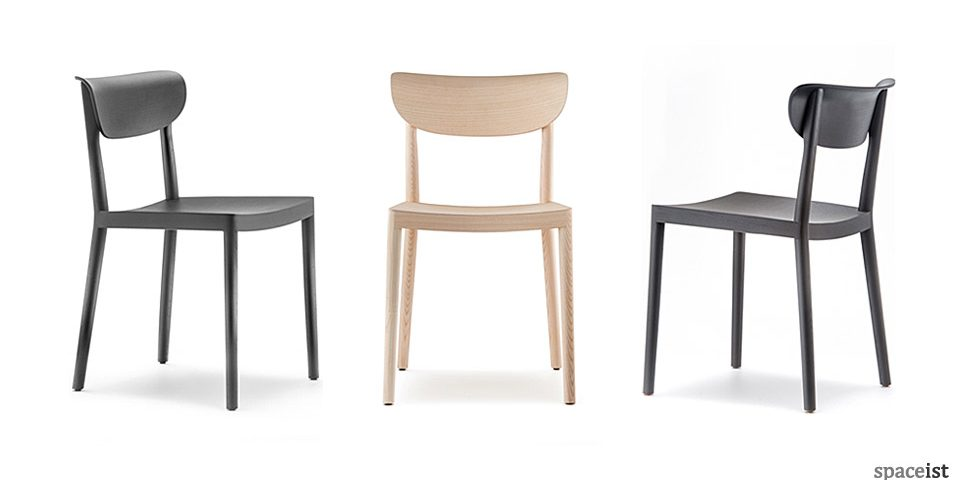 Tivoli black and natural ash wood cafe chair