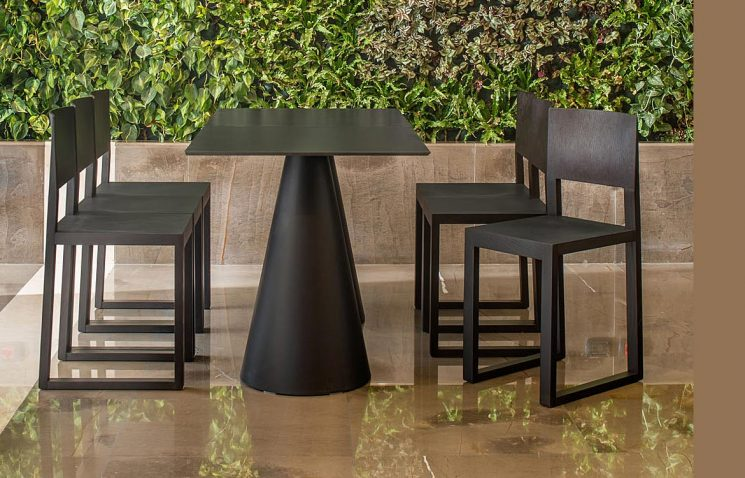 4 person Black Cafe Table