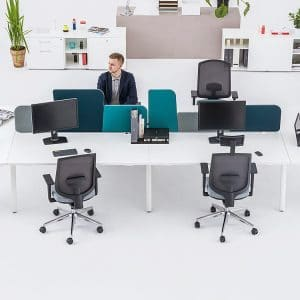 4 person desk with end tables