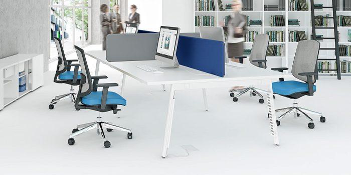 4 person white desk with screens