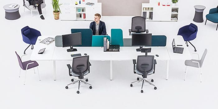 4 person white desk with table