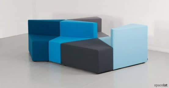 77 angular pod chairs in chades of blue