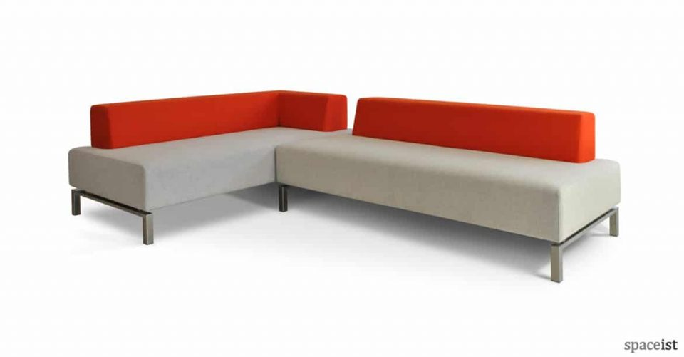 93 corner office sofa in orange and grey