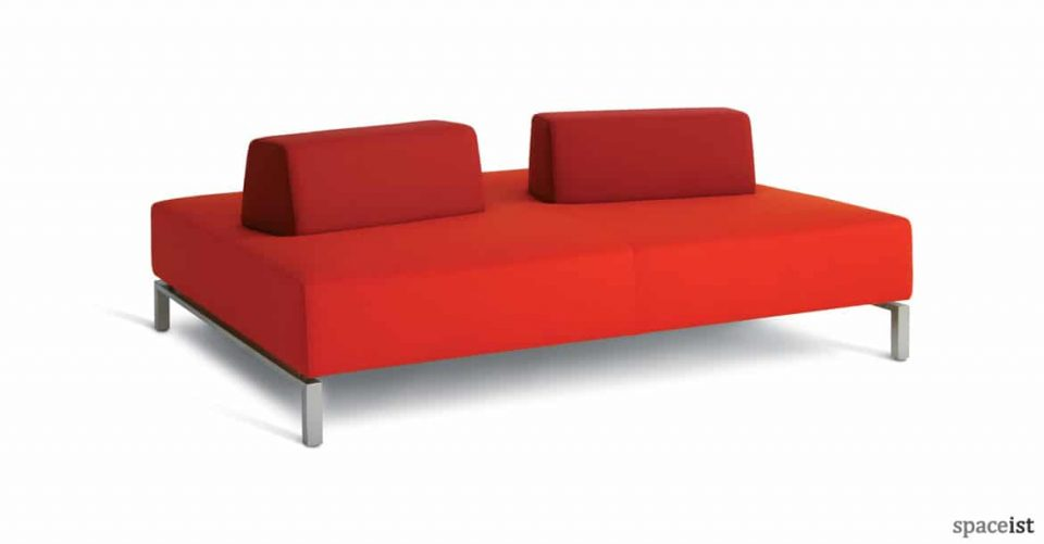 93 large double office lobby sofa in red fabric