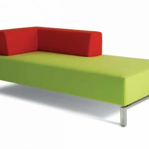 93 corner chaise in red and green