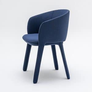 Blue meeting chair with fabric legs