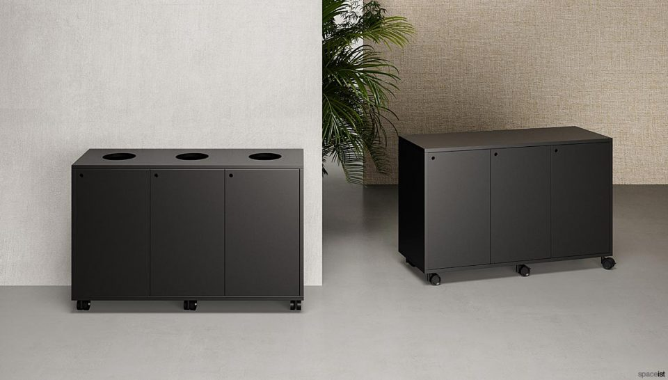 Black Cabinets on Wheels