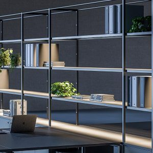 Black Office Shelving with Light