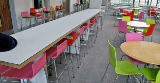 Long high table for school canteen