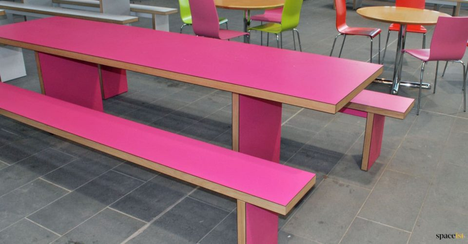 Pink canteen table