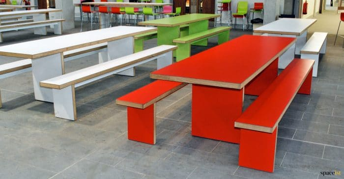 Dinner hall tables red