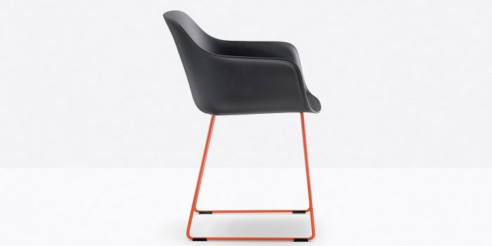 Black Chair with Sled Skid Legs