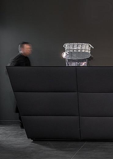 Black reception desks