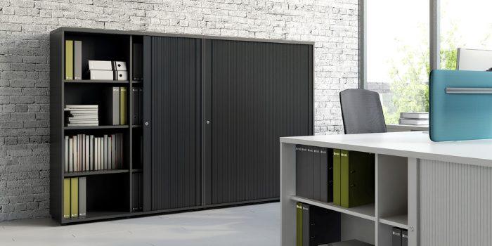 Tall black sliding door cabinet