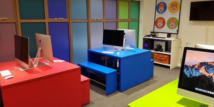 red + blue computer desks