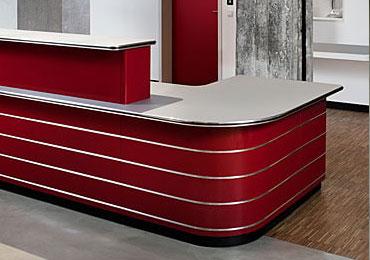 Corner reception desks