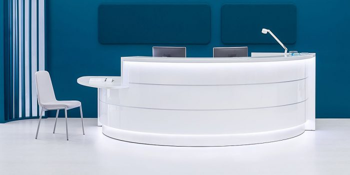 Curved White 2 Person Counter