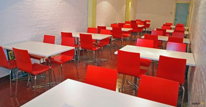 Red + white cafe furniture