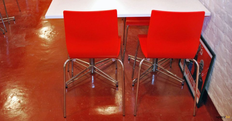 red stacking cafe chairs