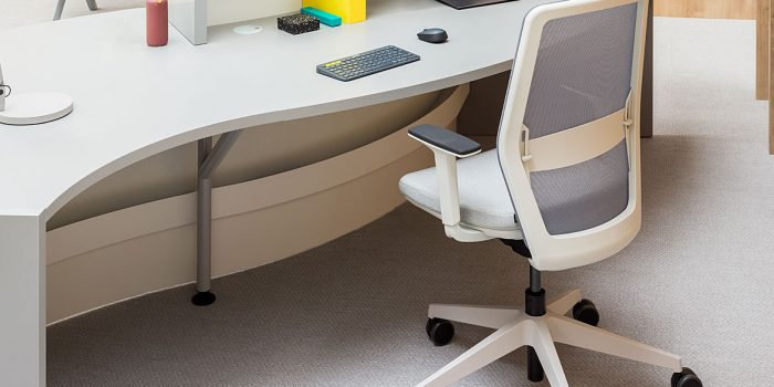 White chair with reception desk