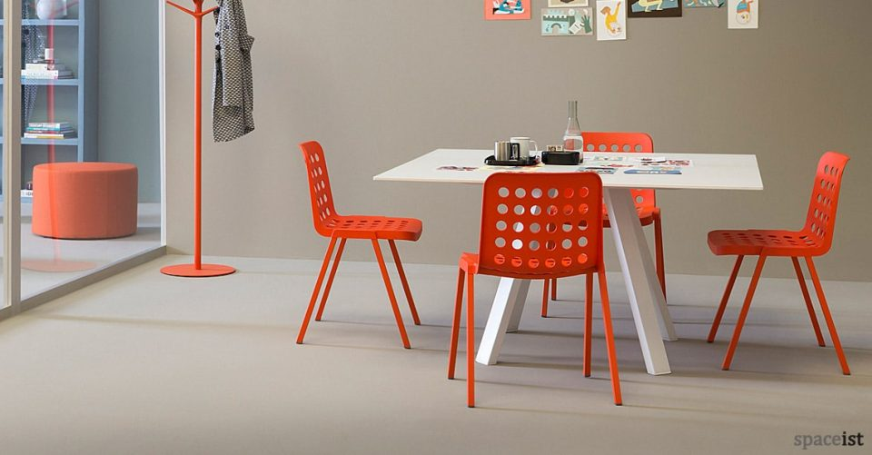 Book red retro meeting room chair