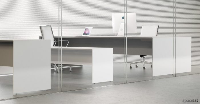 Forty5 designer white four person desk