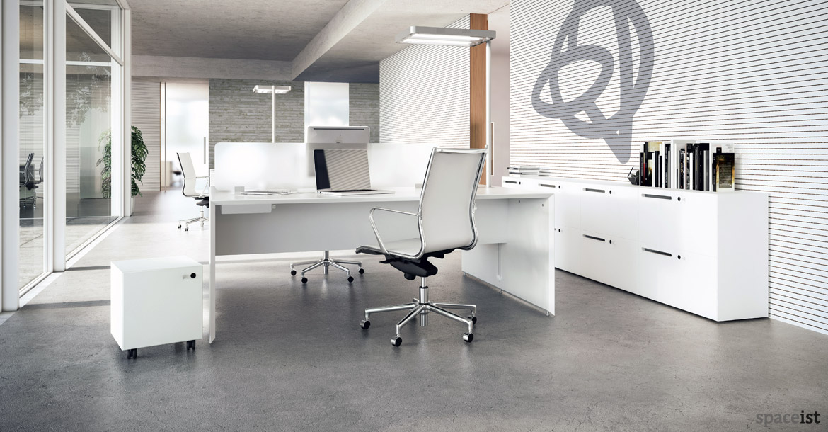 White Office Desks Forty5 Desk 2 Person