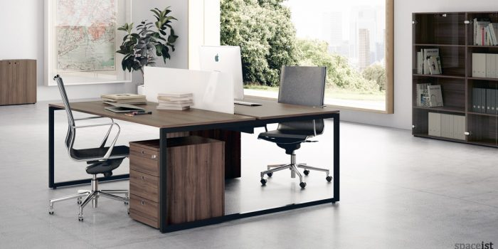Frame desk walnut top with black frame