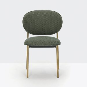 Grey Meeting Chair with Brass Legs