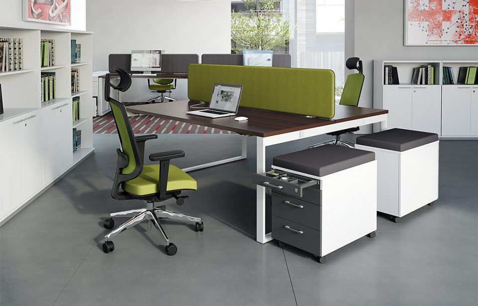 Green and wood desk