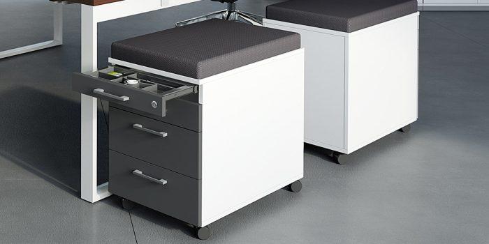 Grey under desk storage