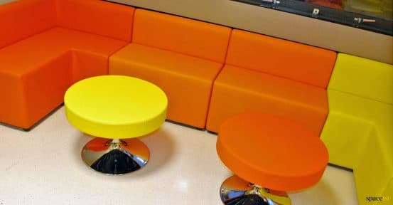 red + orange seating for students