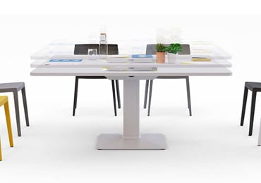 Height adjustable meeting table