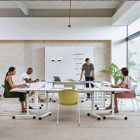How can I furnish a multi-functional meeting space?