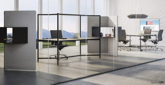 Hub designer black desk with canopy