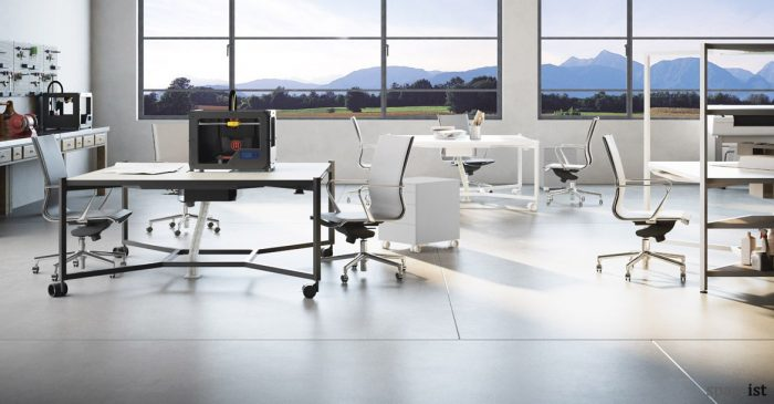 Hub black meeting table on castors