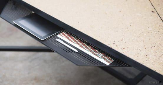 Hub under desk black metal tray