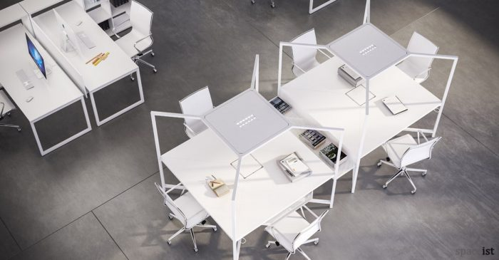 Hub white design-led bench desk with canopy