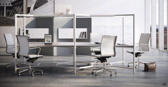 Hub designer white 8 person office desk