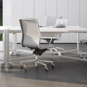Hub industrial style square meeting table on castors
