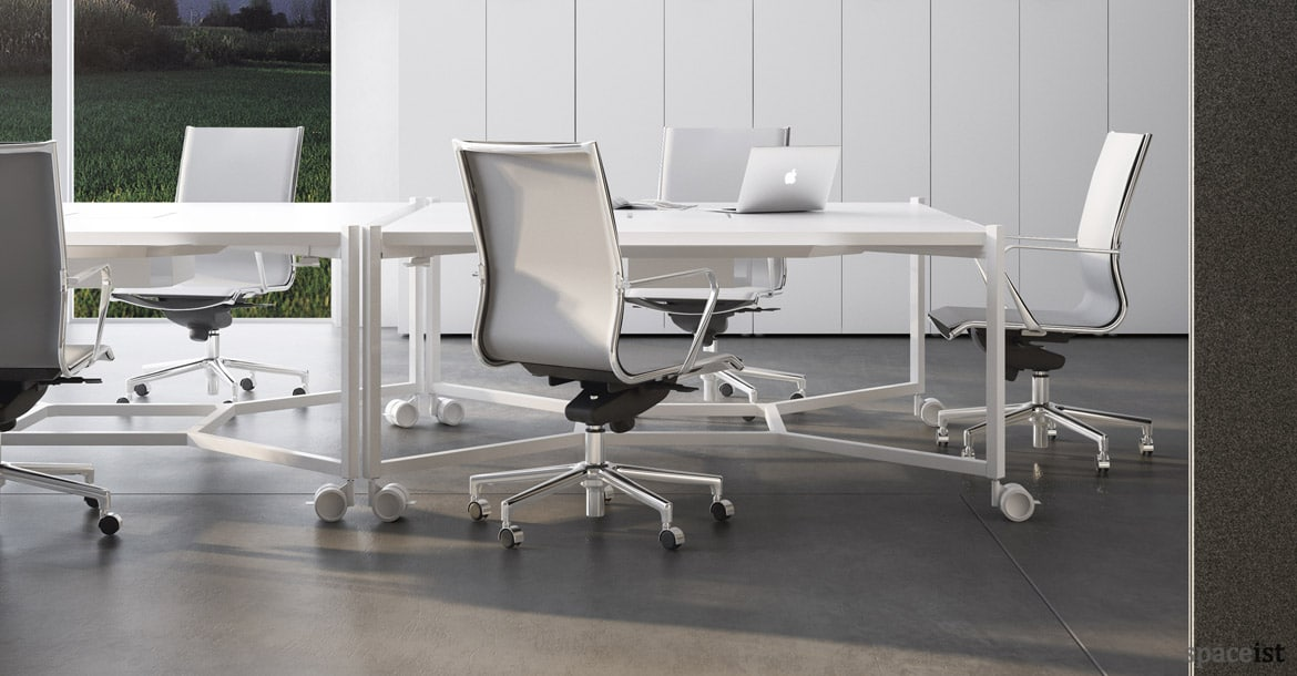 White Meeting Tables Hub Square Table New