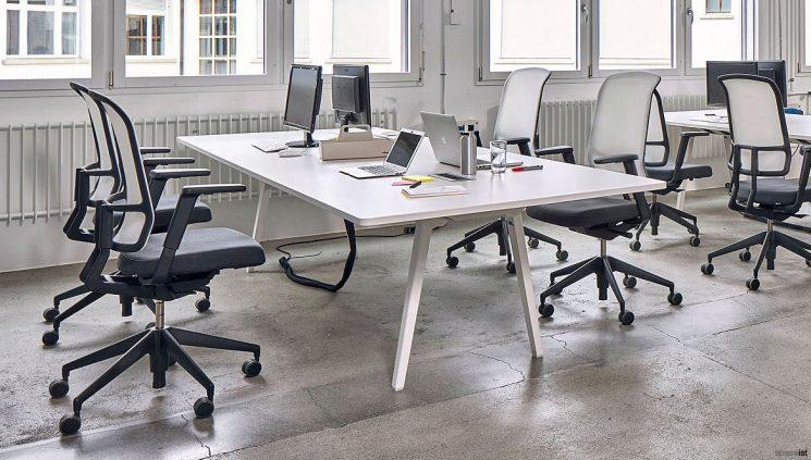 4 Person White Desk