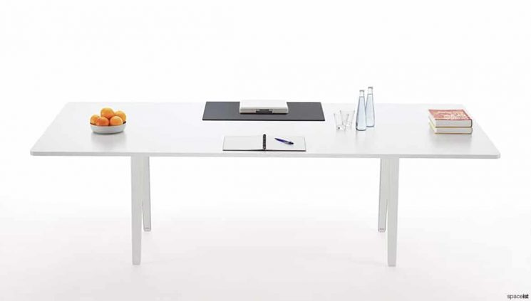 Large White Desk with Writing Pad
