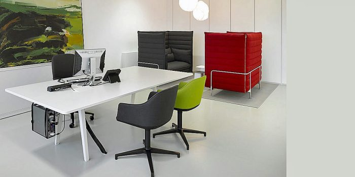 Large Desk with Colourful Chairs