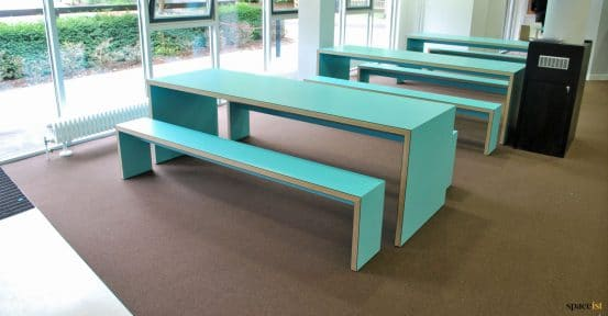 Kings college blue canteen bench